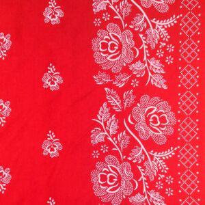 Pamutvászon – Kékfestő bordűrös mintával, piros színben