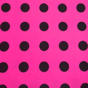 Pamutvászon – Rózsaszín alapon fekete nagy pöttyös mintával