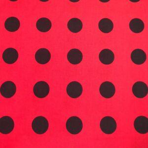 Pamutvászon – Piros alapon fekete nagy pöttyös mintával