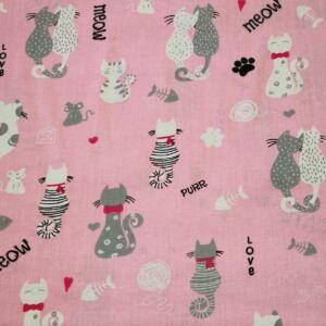 Pamutvászon – Háttal ülő cica mintával, rózsaszín alapon