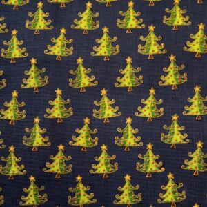 Pamutvászon – Sötétkék alapon színes karácsonyfa mintával
