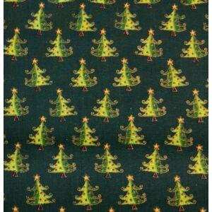 Pamutvászon – Sötétzöld alapon színes karácsonyfa mintával