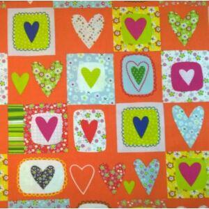 Extra pamutszövet – Narancs alapon szívecske mintával