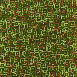Extra pamutszövet – Zöld alapon színes négyzetes mintával