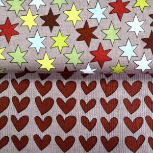 Extra pamutszövet – Színes csillagos és bordó szívecskés mintával