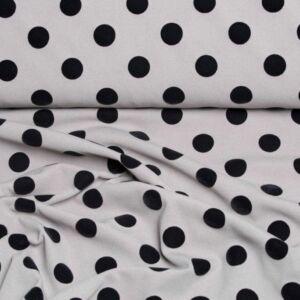 Selyem – Szürke alapon fekete pöttyös mintával