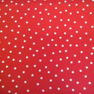 Selyem – Piros alapon fehér pöttyös mintával