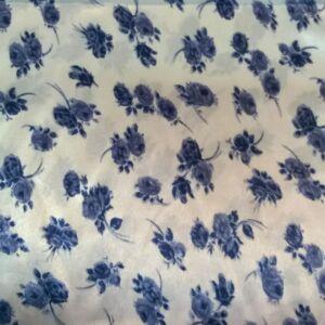 Szatén – Kék színű kis virágos mintával