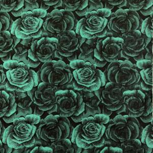 Jacquard – 3D rózsa mintával, zöld színben
