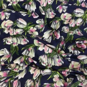Viszkóz selyem – Tulipán mintával, kék alapon