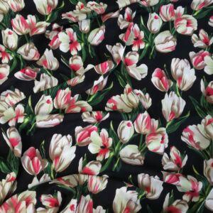 Viszkóz selyem – Tulipán mintával, fekete alapon
