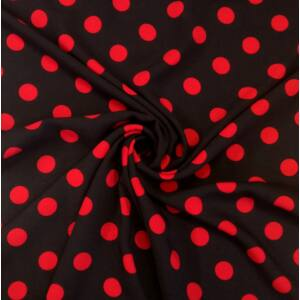 Viszkóz selyem – Fekete alapon piros pöttyös mintával