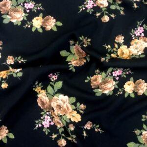 Poliészter selyem – Fekete alapon sárga virág mintával