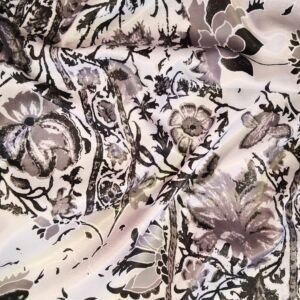 Szatén – Szürke virág mintával