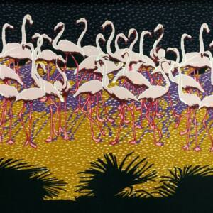 Poliészter selyem – Flamingó madár mintával