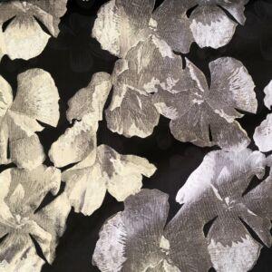Jacquard – Nagyméretű virág mintával, szürke színben