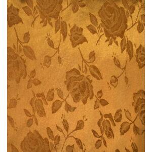 Szatén jacquard – Nagyméretű rózsa mintával, arany színben