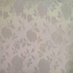 Szatén jacquard – Nagyméretű rózsa mintával, fehér színben