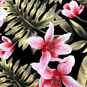 Viszkóz selyem – Rózsaszín liliom mintával, fekete alapon