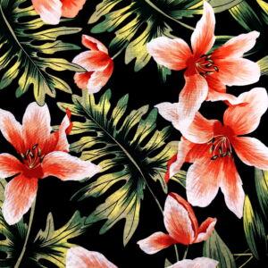 Viszkóz selyem – Piros liliom mintával, fekete alapon