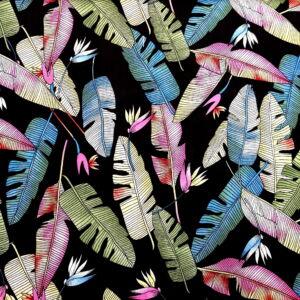 Viszkóz selyem – Színes madártoll mintával, fekete alapon