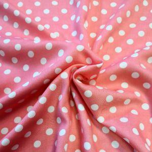 Viszkóz selyem – Rózsaszín alapon fehér pöttyös mintával