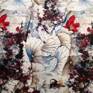Poliészter selyem – Nagyméretű piros és kék árnyalatú virágmintával