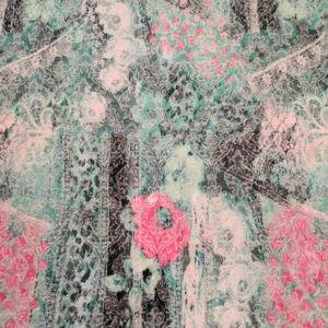 Jacquard Szövet– Rokokó mintával, türkizzöld árnyalatban