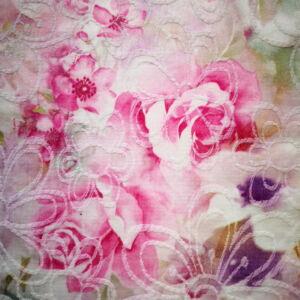 Jacquard Szövet– Virág mintával, rózsaszín árnyalatban