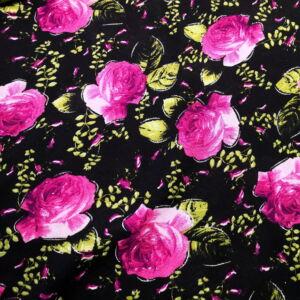 Viszkóz selyem – Fekete alapon pink rózsa mintával