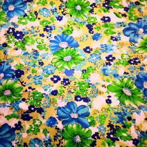 Viszkóz selyem – Kék és zöld színű virág mintával
