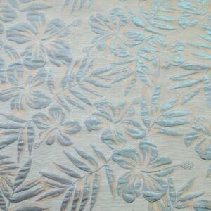 Jacquard – Türkizkék színű pálmalevél és virág mintával