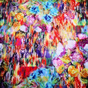 Pamutszatén – Színes virágcsokor mintával