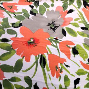Pamutszatén – Korall színű nagyméretű virág mintával