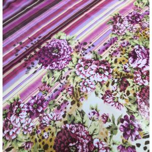 Viszkóz selyem – Lila árnyalatú csíkos és virág mintával