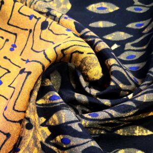 Poliészter selyem – Fekete és sárga színű indiai mintával