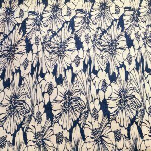 Denim jacquard – Farmer kék és fehér színű virág mintával