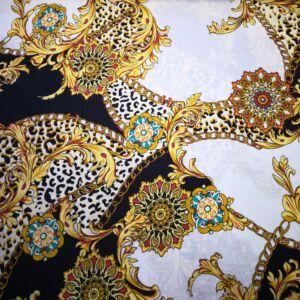 Viszkóz selyem – Leopárd és virág mintával
