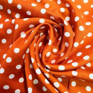 Viszkóz selyem – Narancssárga alapon fehér pöttyös mintával