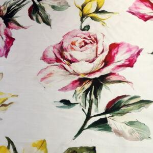 Poliészter selyem – Tört fehér alapon nagy virág mintával