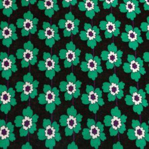Kötött kelme – Lila közepű zöld virág mintával