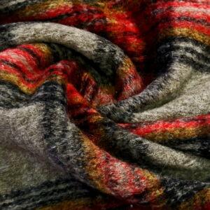 Kötött kelme – Piros és szürke színű nagy kockás mintával