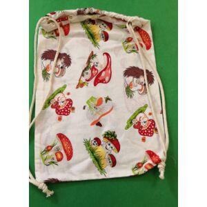 Összehúzható ovis hátizsák – Sün és gomba mintával