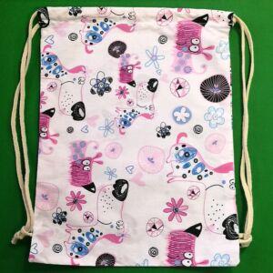 Összehúzható ovis hátizsák – Rózsaszín kutyavilág mintával