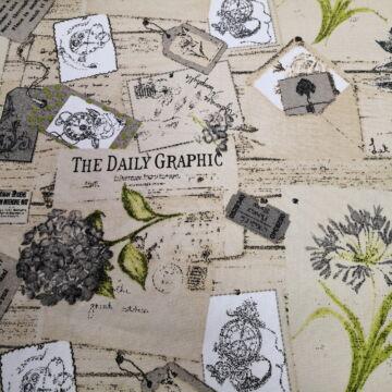 Bútorvászon – Vintage levelezőlapos és virágos mintával