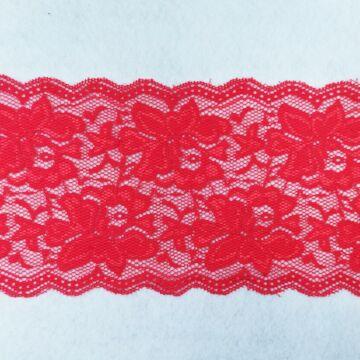 Csipke szalag – Elasztikus csipke, piros színben, rózsa mintával, 13cm