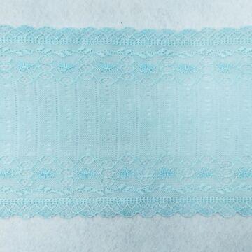 Csipke szalag – Elasztikus csipke,baba kék színben, panelos mintával, 15cm