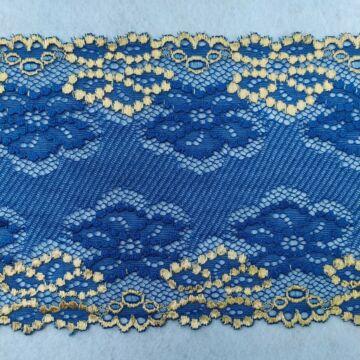 Csipke szalag – Elasztikus csipke,kék színben, aranyozott virág mintával, 15cm