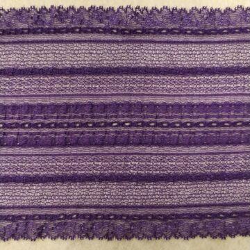 Csipke szalag – Elasztikus csipke,lila színben, csíkos mintával, 17cm