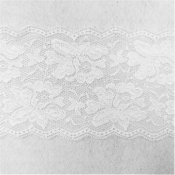 Csipke szalag 5519 – Elasztikus csipke,fehér színben, rózsa mintával, 14cm